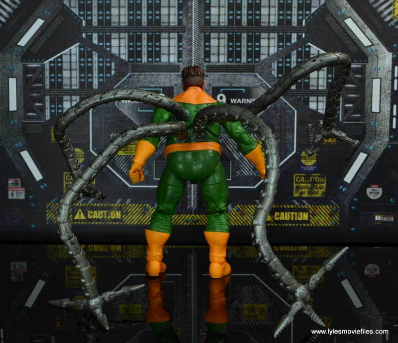 marvel legends doctor octopus figure review - rear with toy biz tentacles