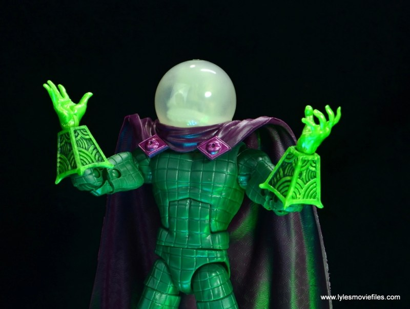 marvel legends mysterio figure review -hands up