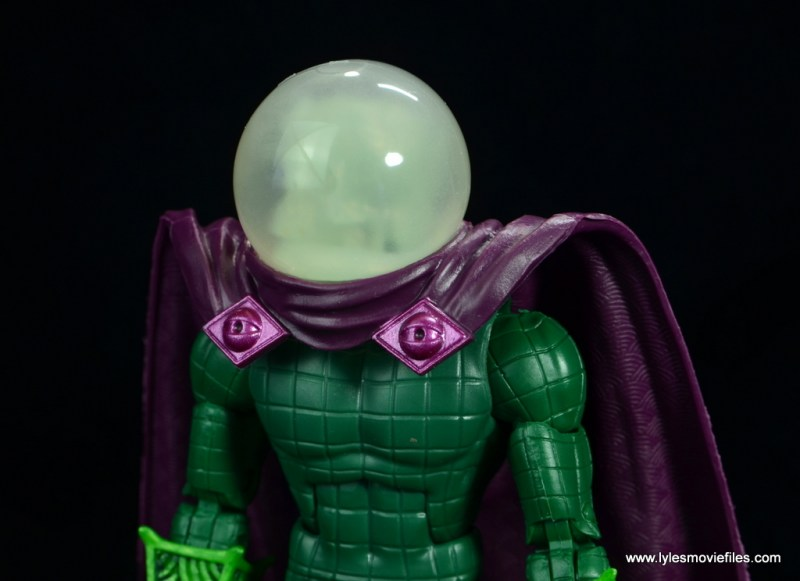 marvel legends mysterio figure review -helmet and cape detail