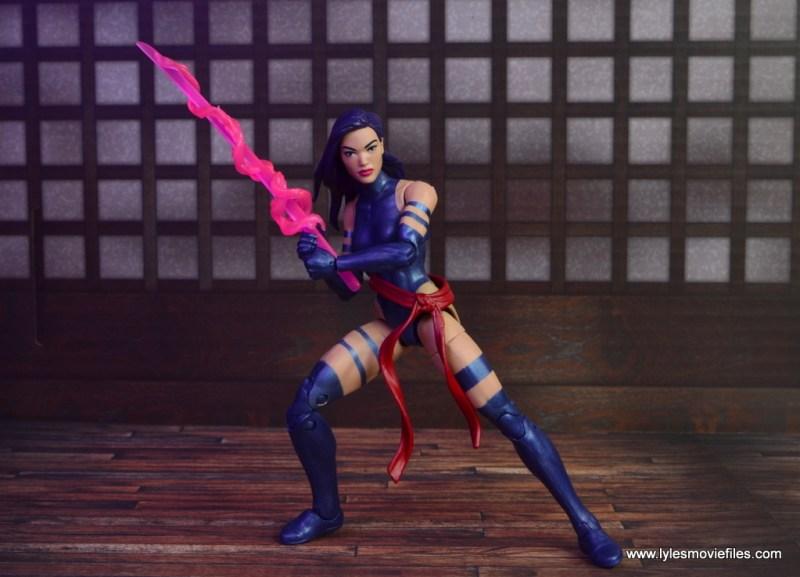 marvel legends psylocke figure review -holding sword