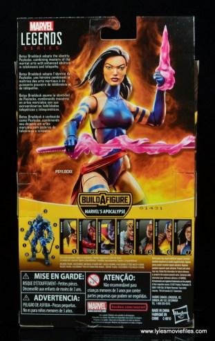 marvel legends psylocke figure review - package rear