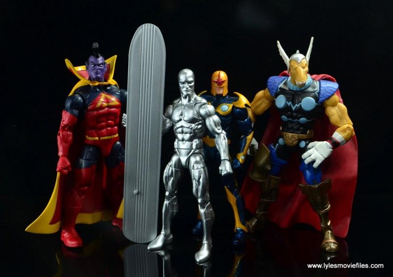 marvel legends silver surfer figure review -with annihilators gladiator, nova and beta ray bill