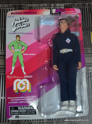 mego action jackson figure review - package front