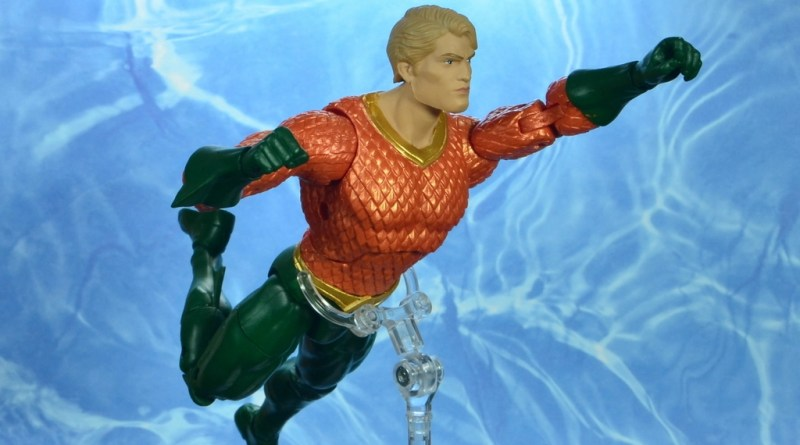 dc essentials aquaman action figure review - main swimming pic