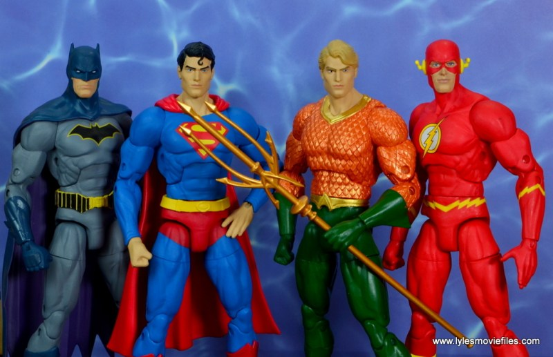 dc essentials aquaman action figure review - with batman, superman and the flash