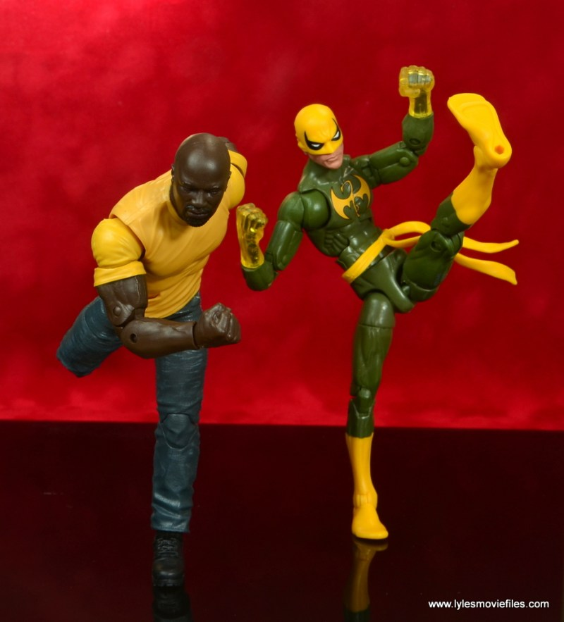 marvel legends luke cage and claire figure review -cage and iron fist in action