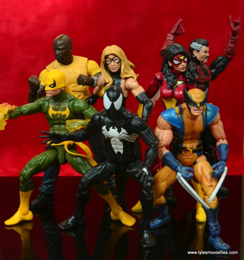 marvel legends luke cage and claire figure review -cage, iron fist, warbird, spider-man, wolverine, spider-woman and doctor strange