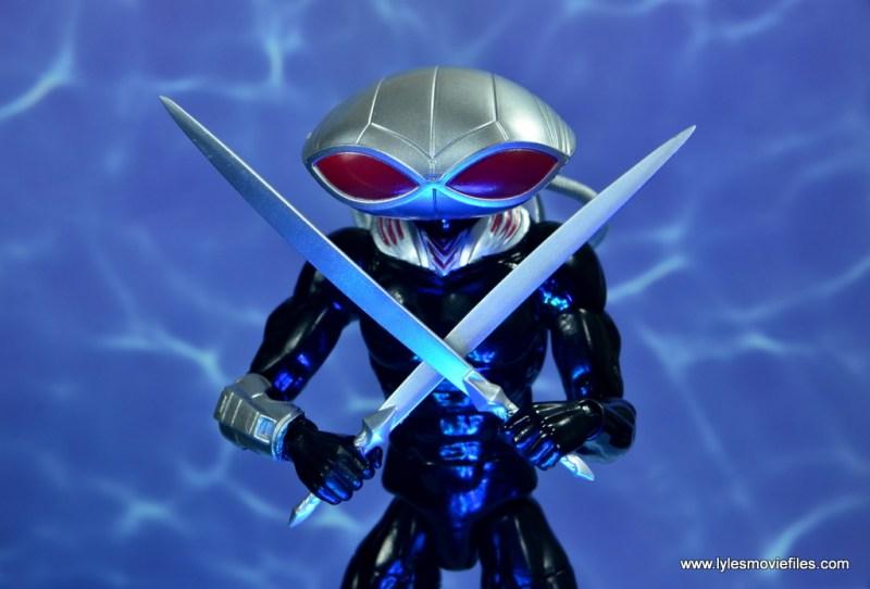 dc essentials black manta figure review -swords up