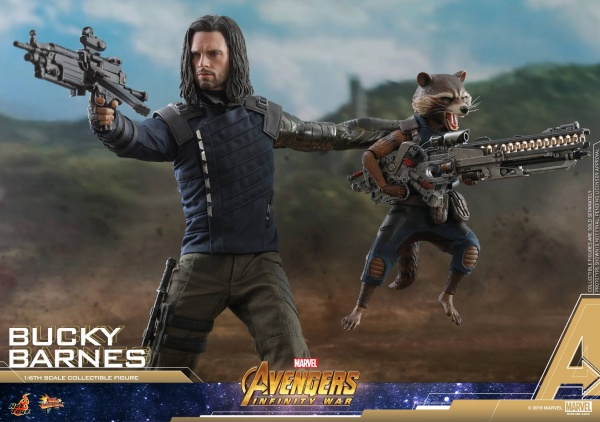 hot toys avengers infinity war bucky barnes figure -carrying rocket