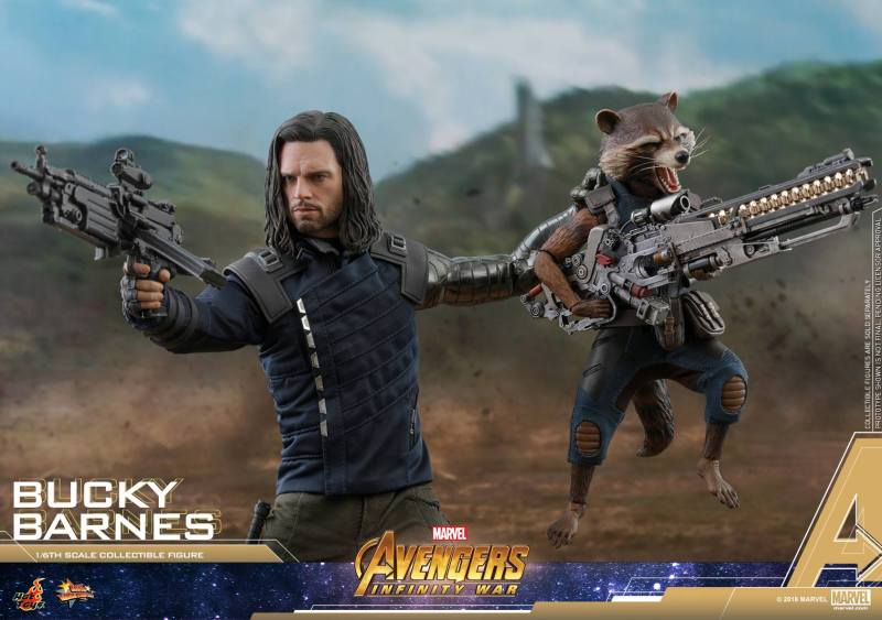 hot toys avengers infinity war bucky barnes figure -wide shot with rocket