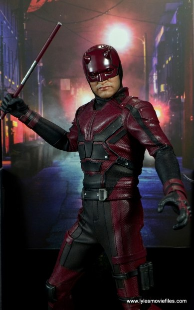 hot toys daredevil figure review - against backdrop
