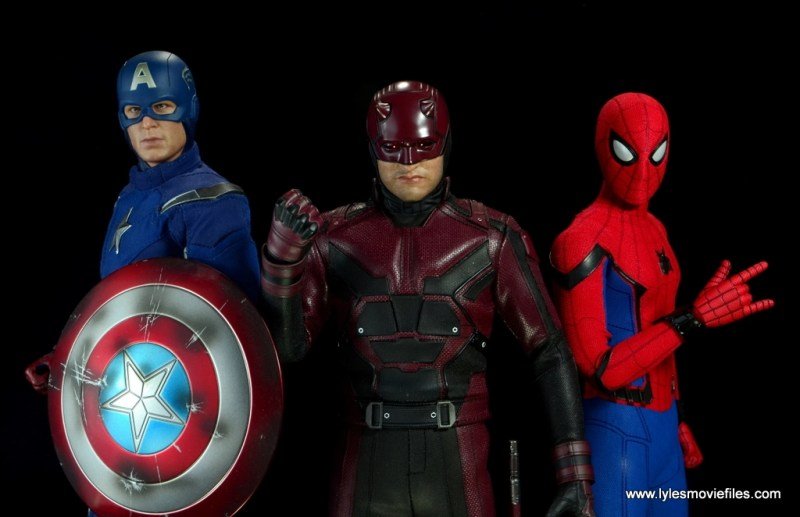 hot toys daredevil figure review - with captain america and spider-man