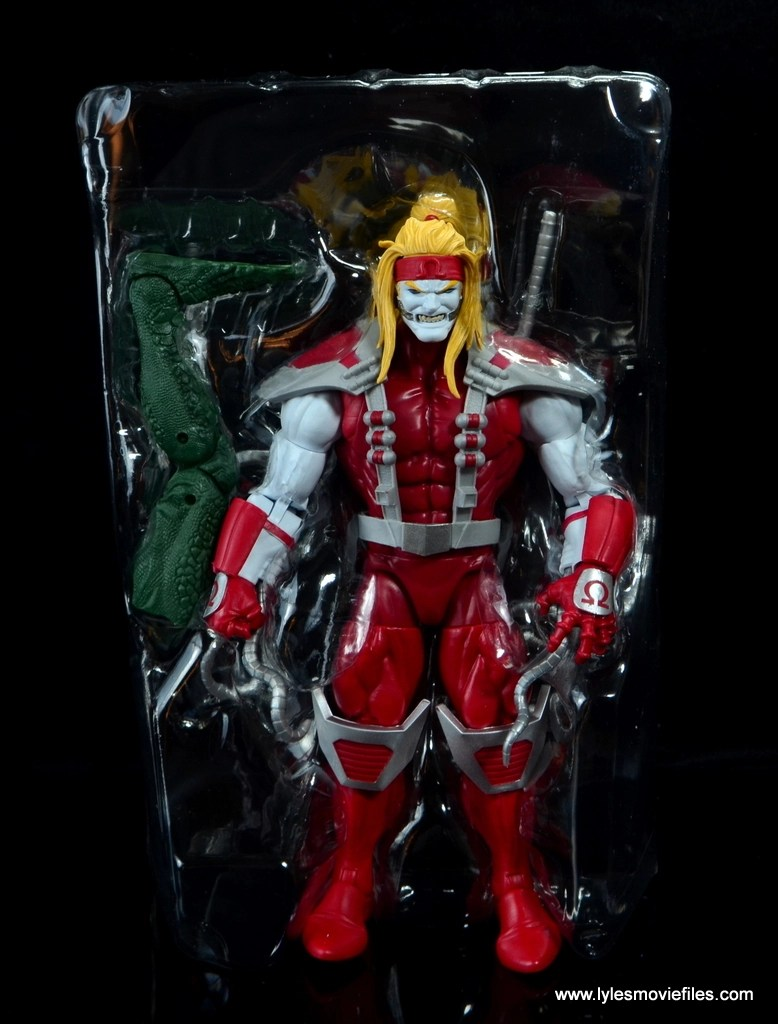 marvel legends omega red figure review - figure and accessories in tray