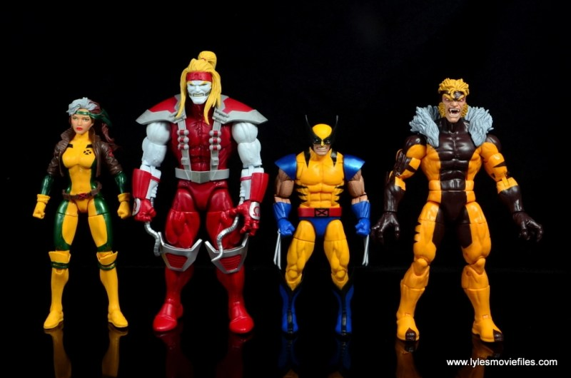 marvel legends omega red figure review - scale with rogue, wolverine and sabretooth