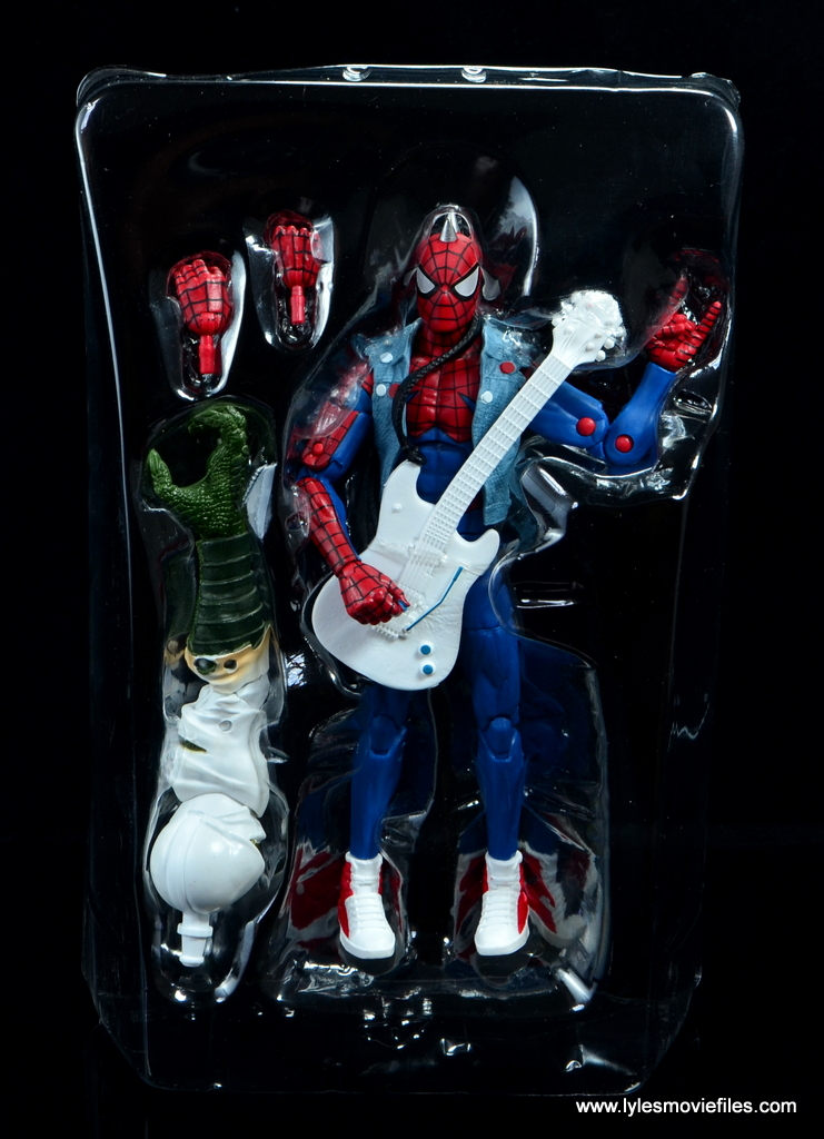 marvel legends spider-punk figure review - accessories in tray