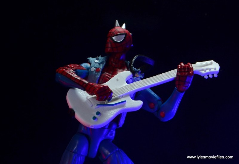 marvel legends spider-punk figure review - guitar playing