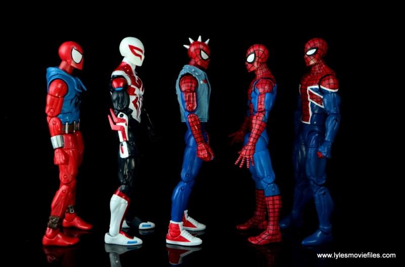 marvel legends spider-punk figure review - scale with scarlet spider-man, spider-man 2099, spider-man and spider-man uk