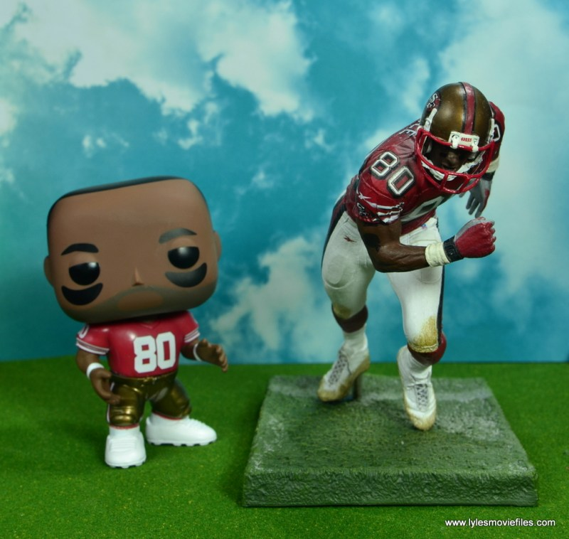 funko pop jerry rice figure review -next to mcfarlane jerry rice