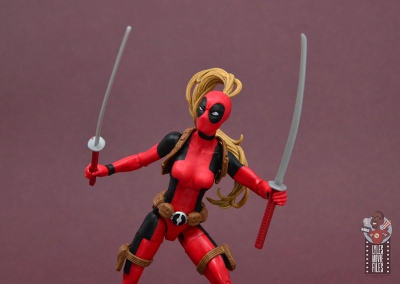marvel legends lady deadpool figure review - wide shot