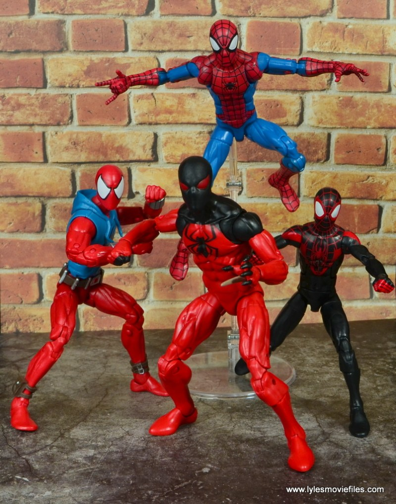 marvel legends scarlet spider figure review - mini spider-verse
