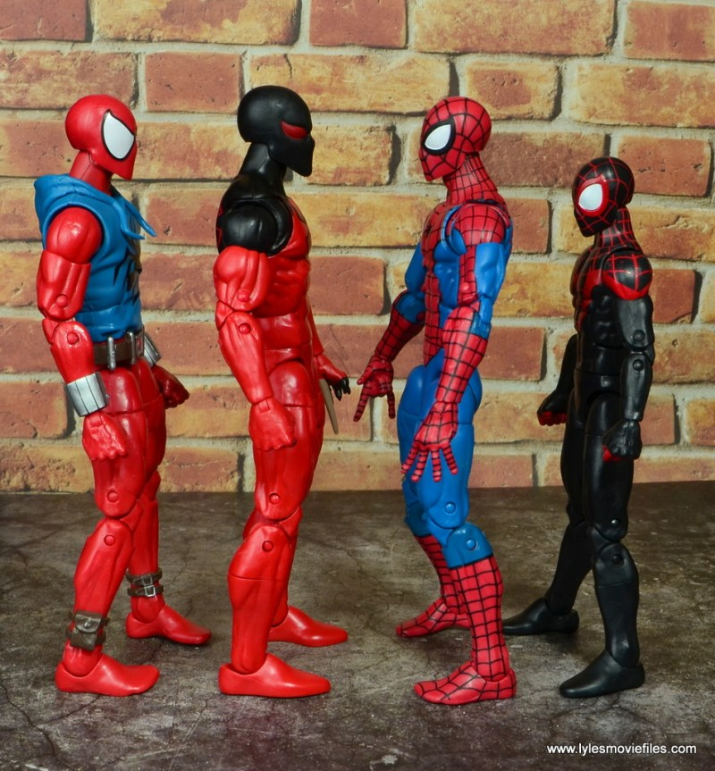 marvel legends scarlet spider figure review - scale with scarlet spider-man, spider-man and miles morales