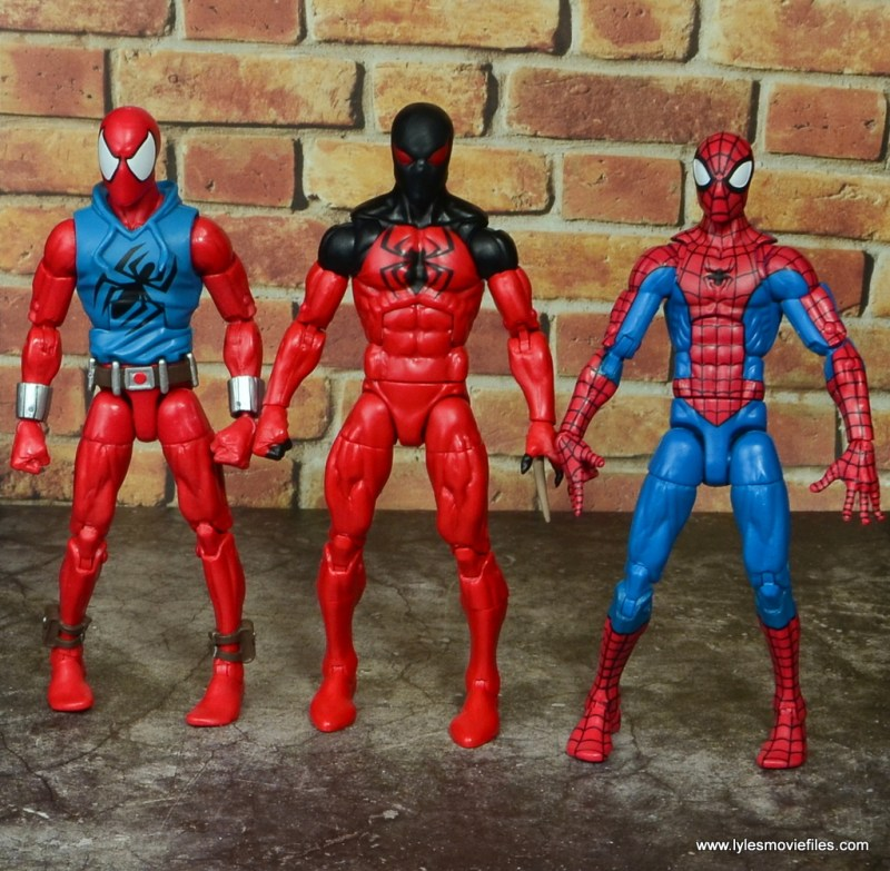 marvel legends scarlet spider figure review - with scarlet spider-man and spider-man