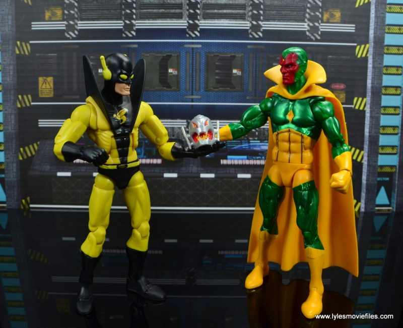 marvel legends vision figure review -holding ultron head with yellowjacket