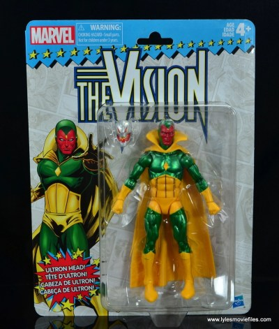 marvel legends vision figure review -package front