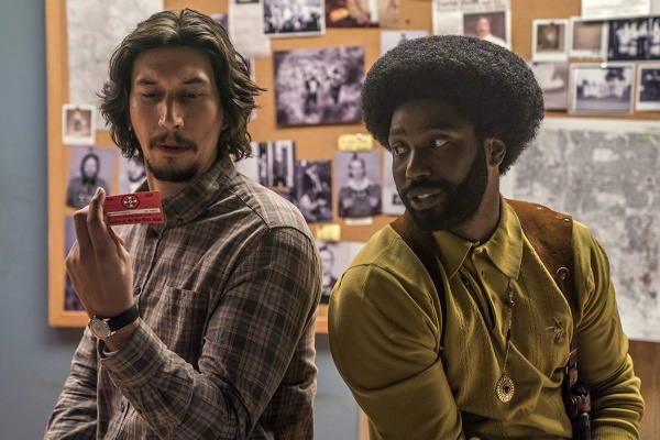 blacKkKlansman movie review - adam driver and john david washington