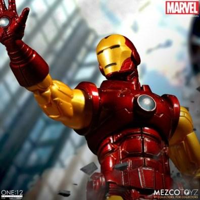 mezco toyz iron man one 12 figure -overhead