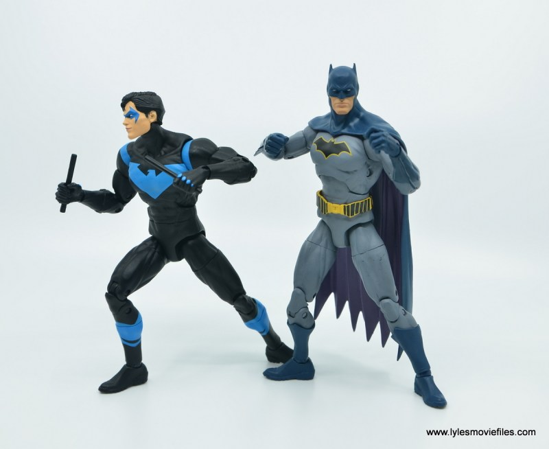 dc essentials nightwing figure review - side by side with batman