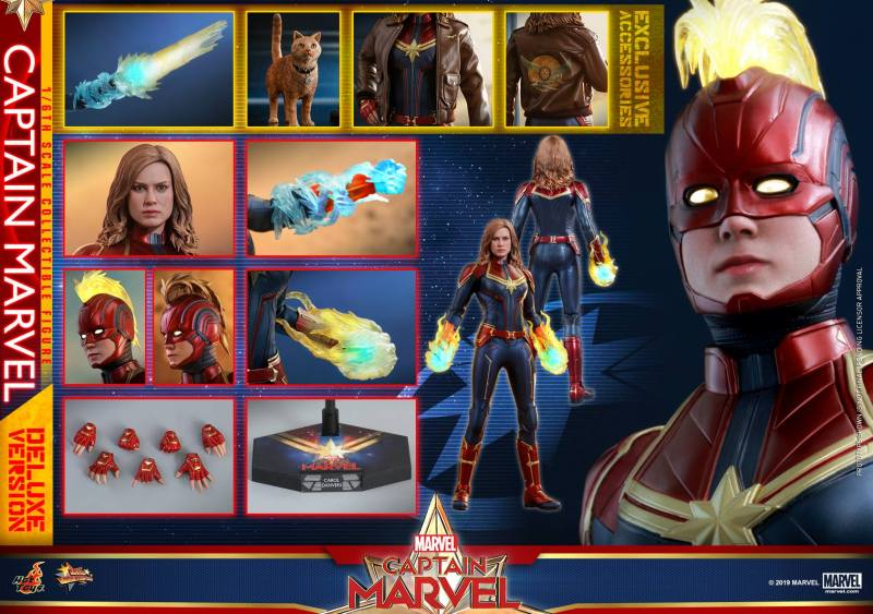 hot toys captain marvel deluxe figure -accessories collage