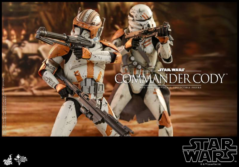 hot toys star wars revenge of the sith commander cody figure -in battle