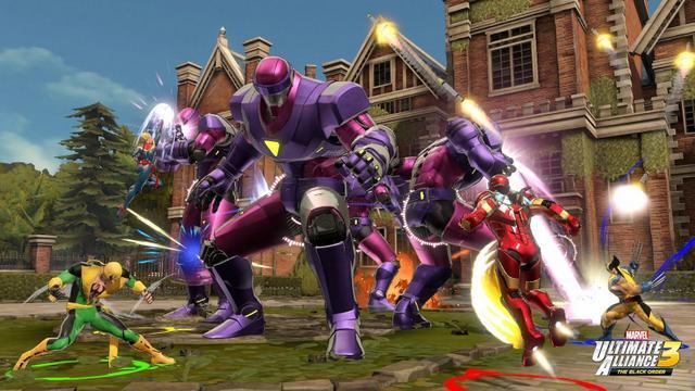 marvel ultimate alliance 3 - captain marvel, iron fist, iron man and wolverine vs sentinels