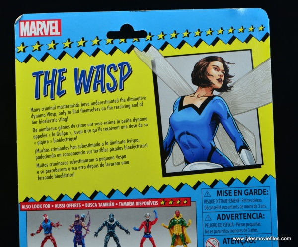 Marvel Legends Vintage The Wasp figure review -package bio