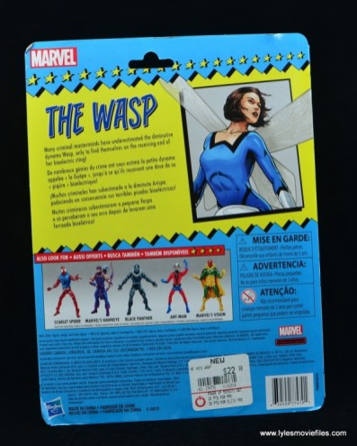 Marvel Legends Vintage The Wasp figure review - package rear