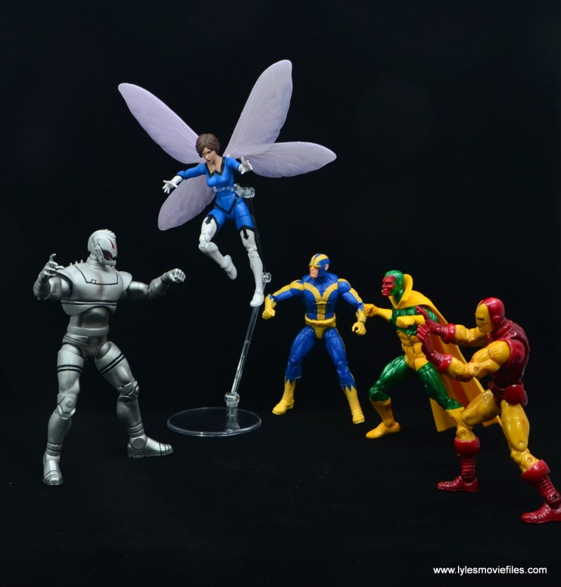 Marvel Legends Vintage The Wasp figure review - with goliath, vision and iron man vs ultron