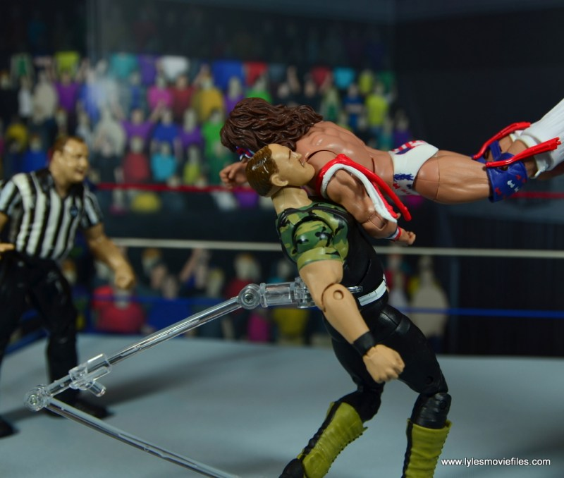 WWE Flashback Ultimate Warrior figure review -shoulder tackle to sgt. slaughter