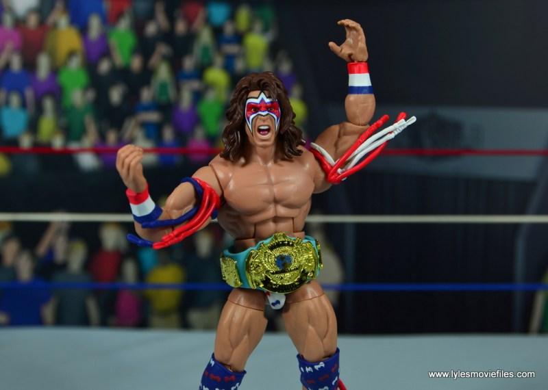 WWE Flashback Ultimate Warrior figure review -wearing wwf title