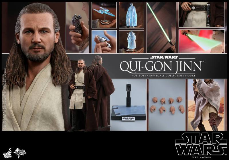 hot toys star wars the phantom menace qui-gon jinn figure - collage
