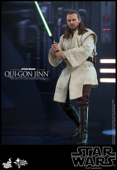 hot toys star wars the phantom menace qui-gon jinn figure -holding lightsaber