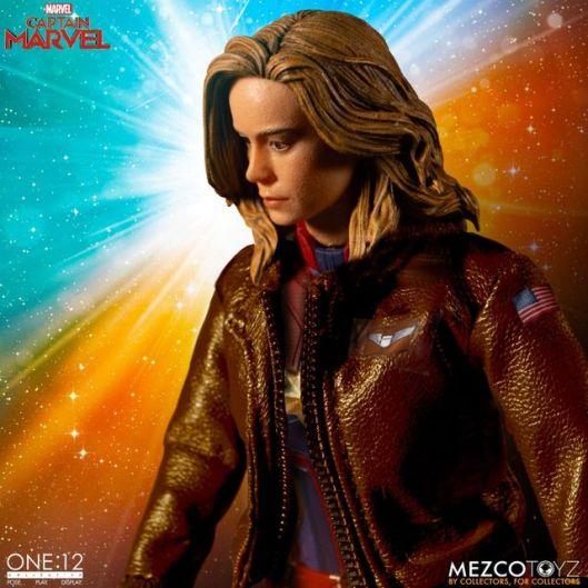 mezco one 12 captain marvel figure -bomber jacket