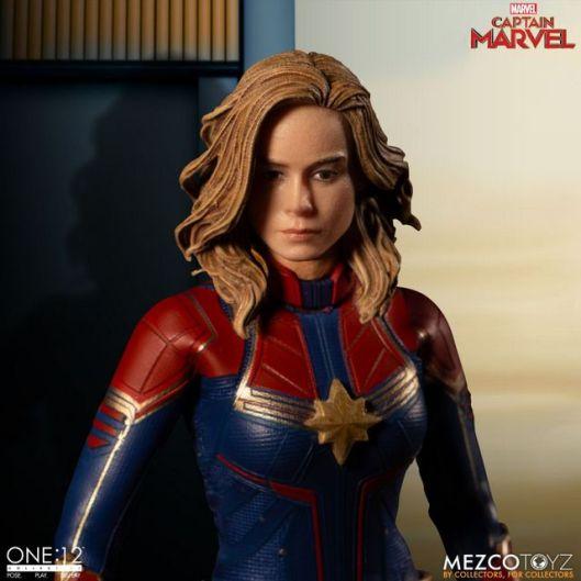 mezco one 12 captain marvel figure - close up