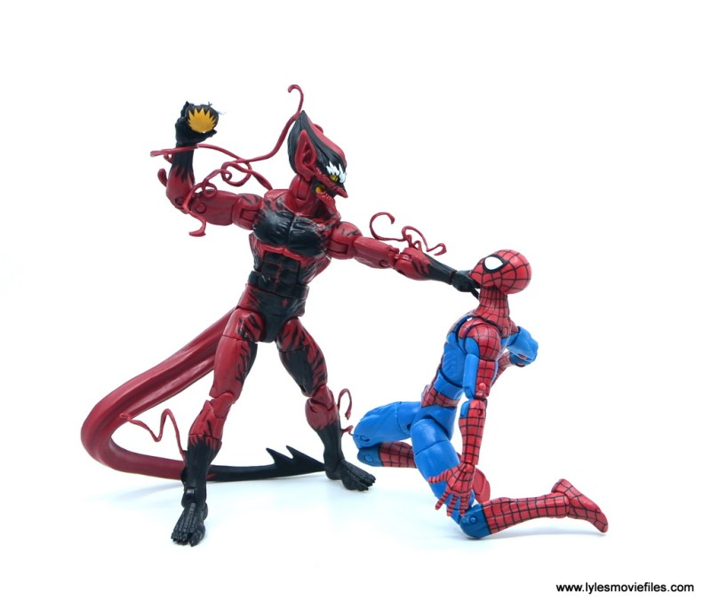 marvel legends red goblin figure review - choking spider-man