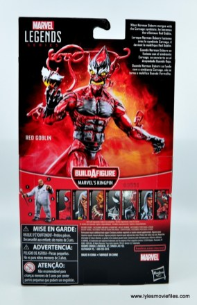 marvel legends red goblin figure review - package rear