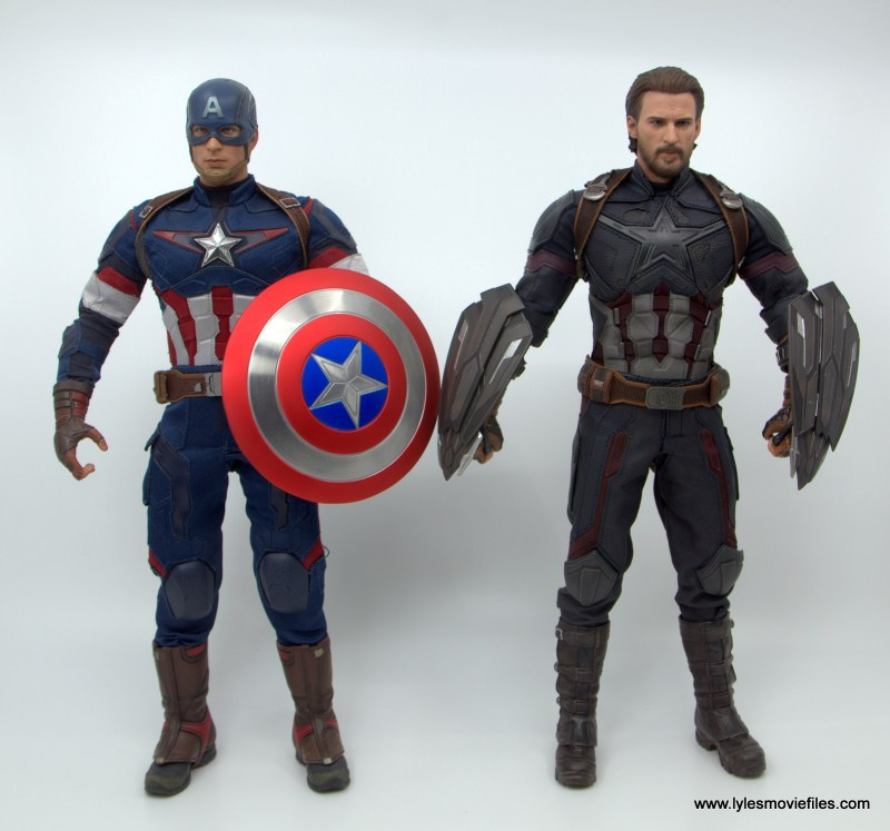 Hot Toys Avengers Infinity War Captain America figure review - next to avengers age of ultron captain america