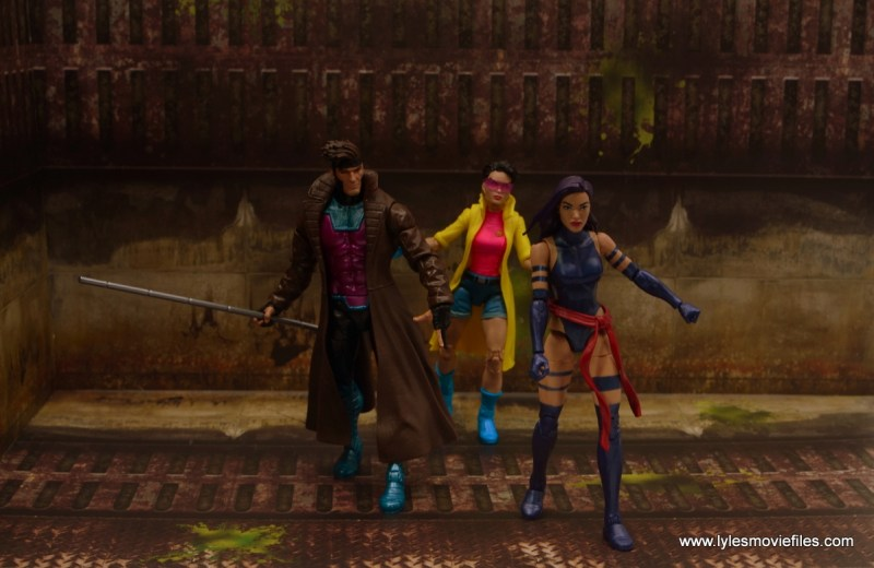 Marvel Legends Gambit figure review - into action with jubilee and psylocke