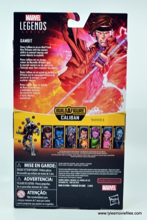 Marvel Legends Gambit figure review -package rear
