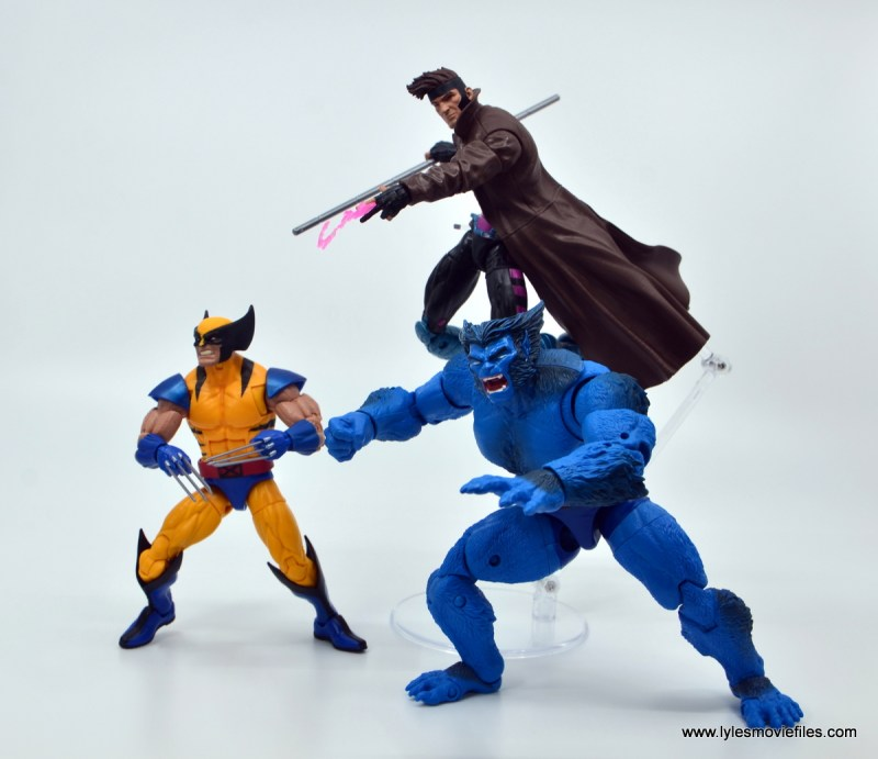 Marvel Legends Gambit figure review - with wolverine and beast
