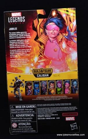 Marvel Legends Jubilee figure review -package rear